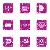 Tech Sale Icons Set. Grunge Set Of 9 Tech Sale Icons For Web Isolated On White Background poster