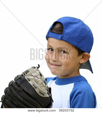 Hispanic Baseball Boy With Blue And White Clothes And Glove - Isolated
