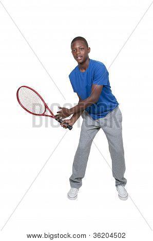 Black Teenager Playing Tennis