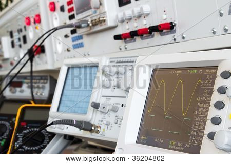 Digital And Analog Oscilloscope In The Foreground