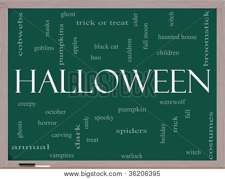 Halloween Word Cloud Concept On A Blackboard