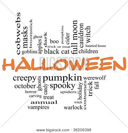 Halloween Word Cloud Concept In Orange & Black