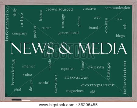 News And Media Word Cloud Concept On A Blackboard