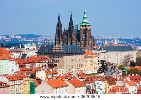 Prague panorama with St. Vitus Cathedral