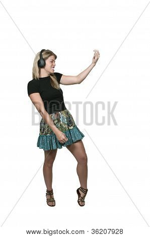 Woman Air Guitar