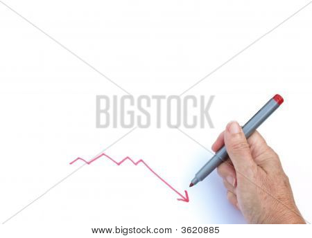 Hand Drawing A Line With A Downward Trend