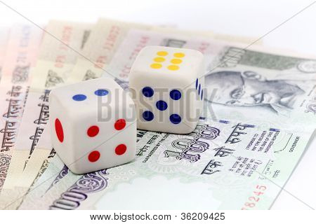 Dice On Indian Rupee Notes