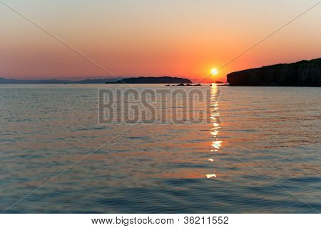 Russky Island, Japan Sea At Colorful Sunset