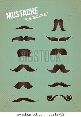 Mustache vector illustration set