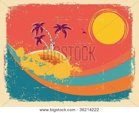 Vintage Tropical Card On Old Paper Texture.vector Background