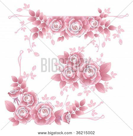 Design Elements With Pink Silky Roses