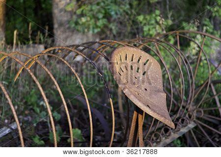 Rusty Hay Rake In The Evening Sun