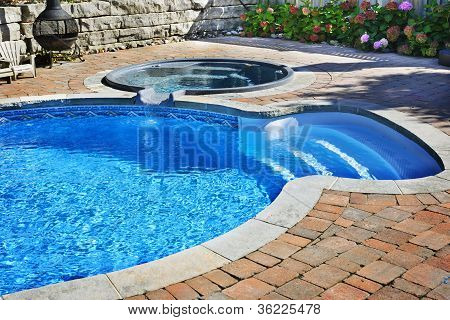 Swimming Pool With Hot Tub