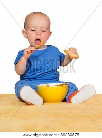 Pequeno bebê comendo biscoitos