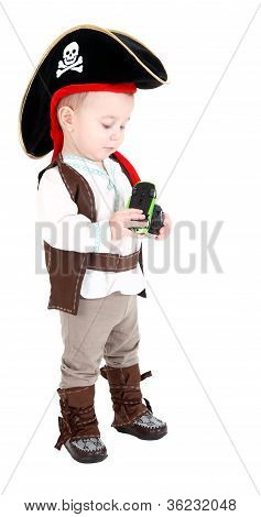 little boy in a suit of the pirate