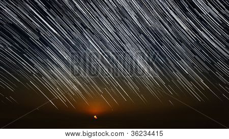 Star Trails And Moonset