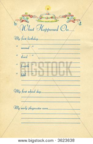 Page From Vintage Baby Book