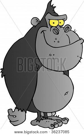 Gray Gorilla Cartoon Character