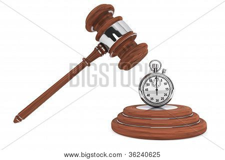Justice Gavel With Stopwatch