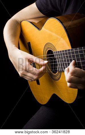 Closeup View Of Playing Classic Spanish Guitar