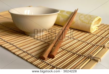 Chinese Chopsticks On Bamboo