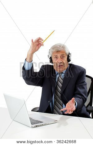 Senior Business Man getting an idea