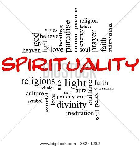 Spirituality Word Cloud Concept In Red & Black