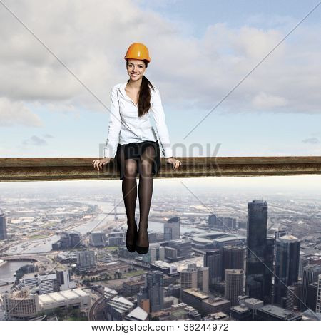 Businesswoman and cityscape