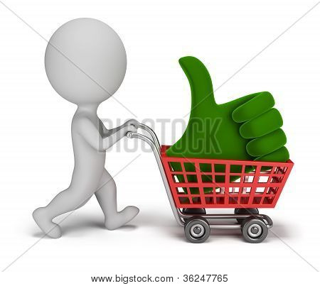 3D Small People - Positive Symbol In The Cart