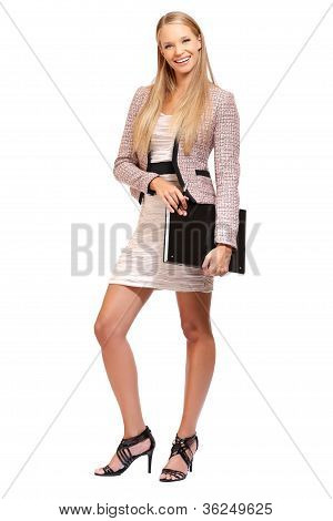 Young Elegant Business Woman Isolated On White