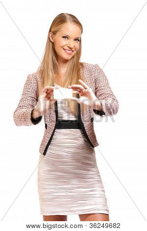 Portrait Of A Business Woman Giving Card