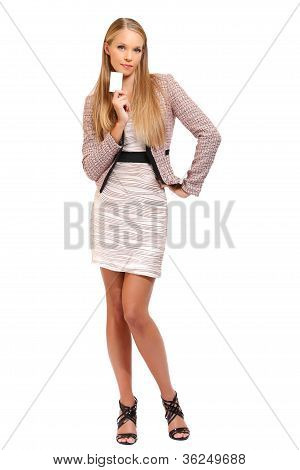 Elegant Blonde Business Woman With A Blank Businesscard