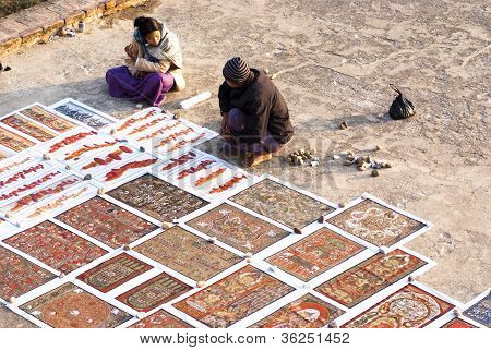 Sand Painting In Myanmar