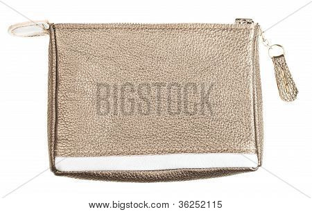 Gold Brown Soft Leather Vanity Bag