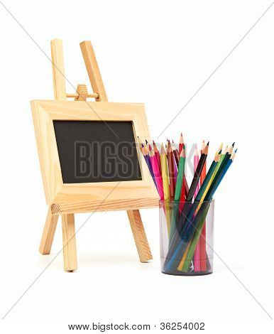 Frame and pencils isolated on a whitebackground