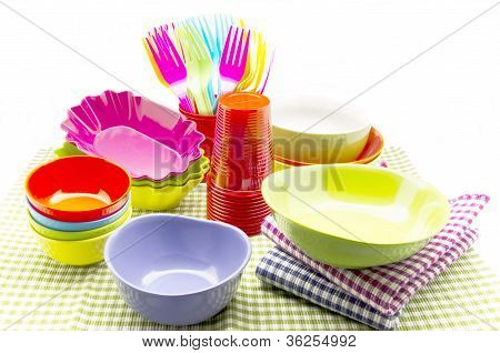 Colorful plastic tableware