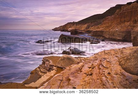 Rocky Cliff and Ocean, San Diego, California