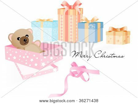 Gift with Teddy Bear and other Christmas gifts on the white backgro