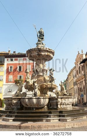 Fountain In The Cathedral Square Of Trento