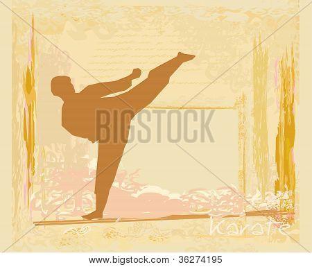 old paper , karate Grunge poster