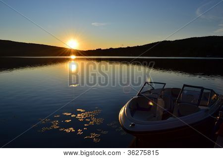 Sunset over Lake with Boat