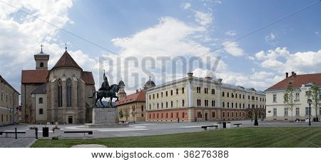 Michael the Brave statue and square panorama, Alba Iulia