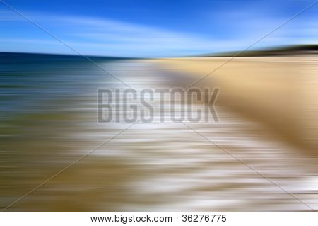 The abstract elements of sand, sea, and sky