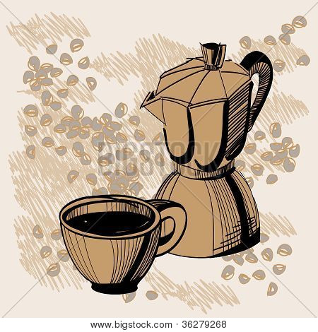 Sketch Of Mocha Coffee Maker And Cup With Some Coffee Beans