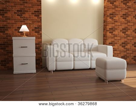 Interior With White Furniture
