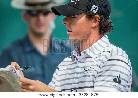 Rory Mcilroy Signs Autographs At The 2012 Barclays