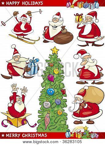 Conjunto de dibujos animados de Navidad temas