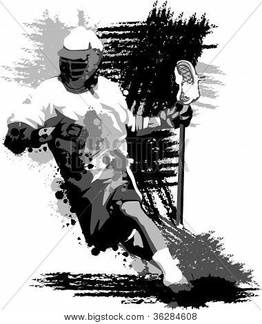 Lacrosse Player Splatter Vector Illustration