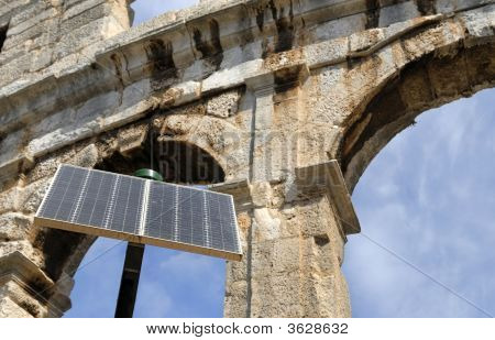 Amphitheater In Pula, Croatia With In Front Solar Cell