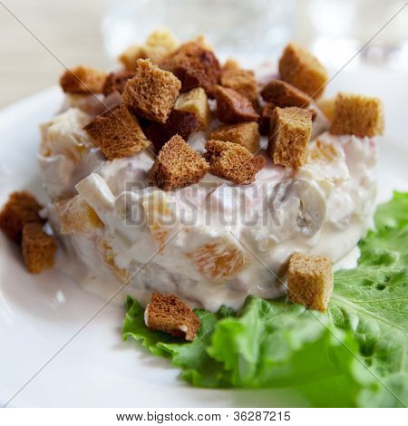 Salad On A Plate With Toast